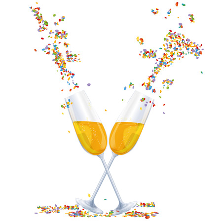 Sparkling wine, champagne glasses and confetti at a party