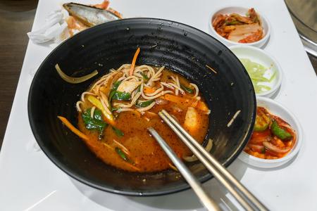 Close up leftover Jjamppong Korean noodle