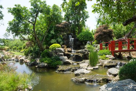 Photo for Japanese garden style with waterfall - Royalty Free Image