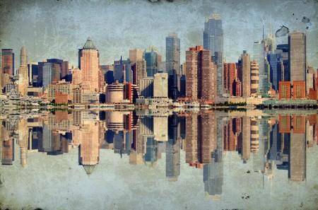 photo grunge new york city over hudson river skyline