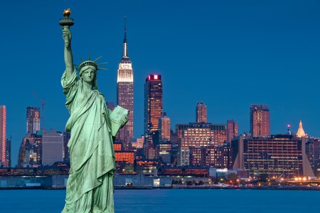 photo tourism concept new york city with statue liberty