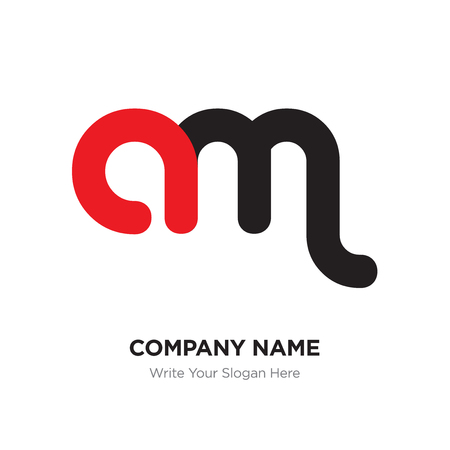 Abstract letter am logo design template, Black Alphabet initial letters concept. Flat thin line segments connected to each other