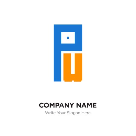 Abstract letter PU logo design template, Black Alphabet initial letters concept. Flat thin line segments connected to each other