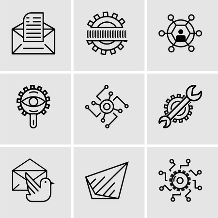 Set Of 9 simple editable icons such as Settings, Send, Mail bird, Settings, Cpu, View, User, Binary code, Email, can be used for mobile, web UI