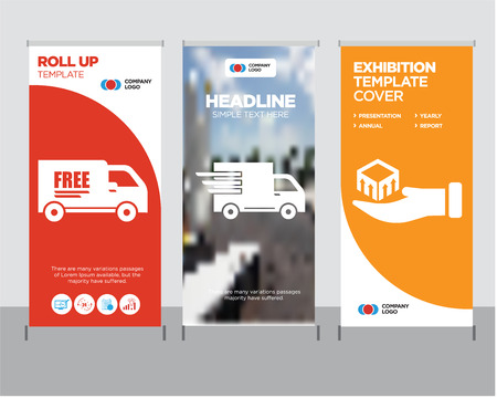 Ilustración de Package delivery in hand modern business roll up banner design template, Logistics delivery truck in movement creative poster stand or brochure concept, Free delivery truck cover publication - Imagen libre de derechos