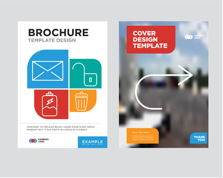 Ilustración de Arrow pointing to right brochure flyer design template with abstract photo background, Dustbin, Unlocked padlock, Battery charging, Closed envelope minimalist trend business corporate roll up or - Imagen libre de derechos