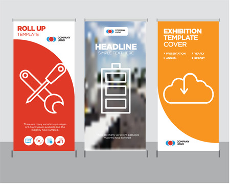Ilustración de Download from the cloud modern business roll up banner design template, Battery level creative poster stand or brochure concept, Screwdriver and wrench cover publication - Imagen libre de derechos
