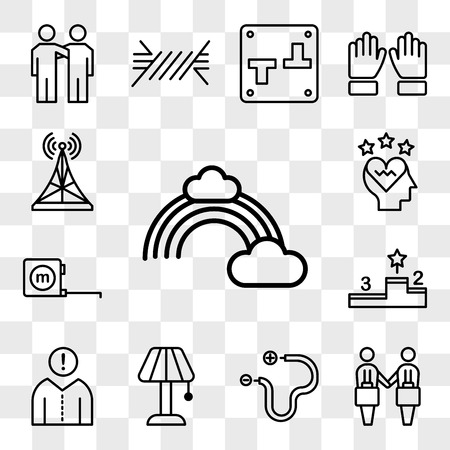 Set Of 13 transparent editable icons such as Rainbow, Deal, Wire, Lamp, Think, Podium, Measuring tape, Love, Antenna, web ui icon pack, transparency set