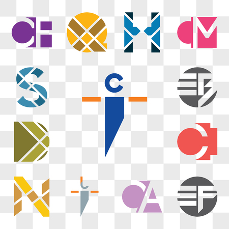 Set Of 13 transparent editable icons such as ci ic, EF FE, CA AC, ji ij, N Letter, CI IC, D EB BE, S web ui icon pack, transparency set