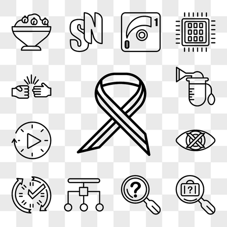 Illustration pour Set Of 13 transparent icons such as multiple sclerosis, lost and found, problem statement, restructuring, real time data, discreet, downtime, breast pump, web ui editable icon pack, transparency set - image libre de droit