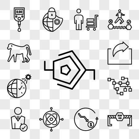 Set Of 13 transparent editable icons such as synapse, dead end