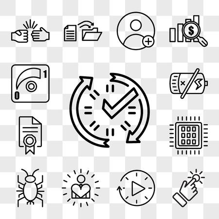 Illustration pour Set Of 13 transparent icons such as real time data, touchpoint, downtime, self esteem, cricket bug, quad-core processor, mandate, dead battery, web ui editable icon pack, transparency set - image libre de droit
