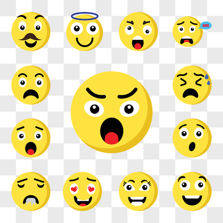 Set Of 13 transparent icons such as Angry emoji, Happy Smart In love