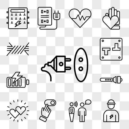 Set Of 13 transparent editable icons such as Socket, Electrician, Communication, Switch, Hearts, Flashlight, Battery, Wire, web ui icon pack, transparency set