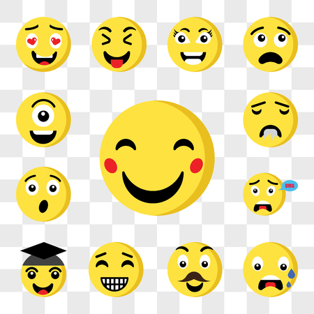 Set Of 13 transparent icons such as Happy emoji, Nervous