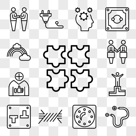 Set Of 13 transparent editable icons such as Puzzle, Wire, Dimmer, Switch, Success, Positive, Deal, Rainbow, web ui icon pack, transparency set