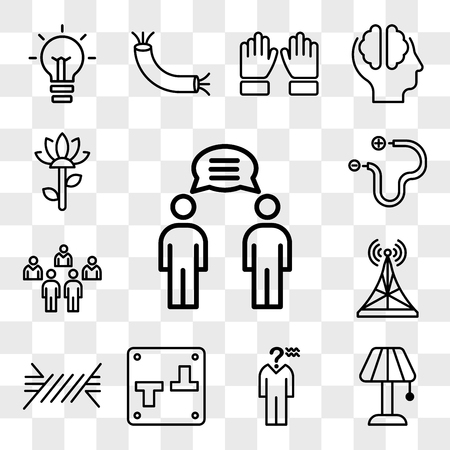 Set Of 13 transparent editable icons such as Communication, Lamp, Confusion, Switch, Wire, Antenna, People, Garden, web ui icon pack, transparency set