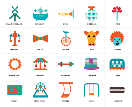 Set Of 20 icons such as Moon pie, Swing, Trapeze, Ferris wheel, Ticket, Rose, Beef, Strongman, Ring of fire, Bow tie, Horn, web UI editable icon pack, pixel perfect