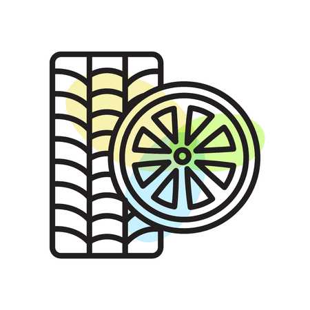Wheels icon vector isolated on white background for your web and mobile app design