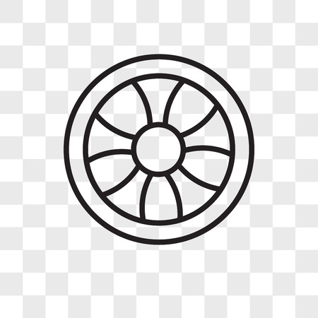 Wheel vector icon isolated on transparent background, Wheel logo concept