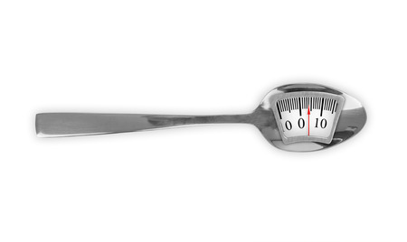 Metal spoon with weight scale