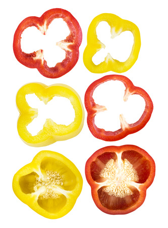 Set of sliced red, yellow bell pepper section pieces isolated over white background