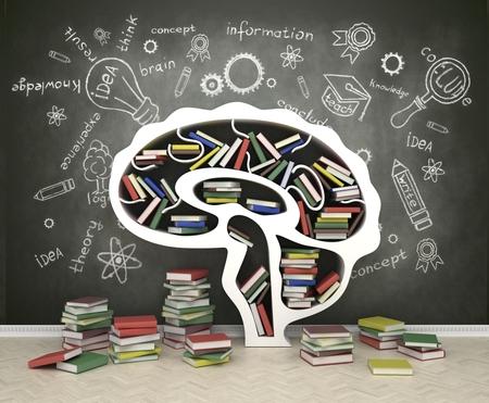 Foto de book shelf in form of head on gray backgrounds - Imagen libre de derechos