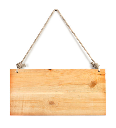 Photo pour close up of an empty wooden sign hanging on a rope on white - image libre de droit