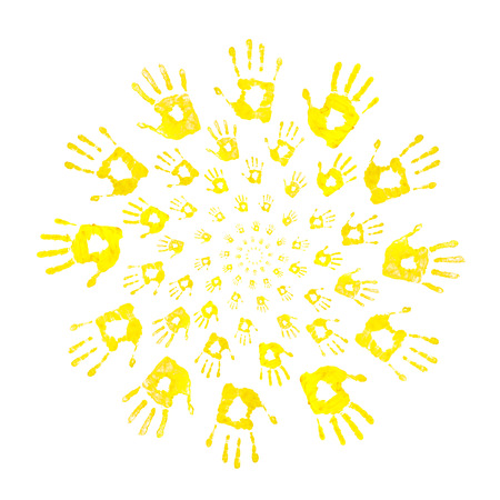 sun of handprints on an isolated white background
