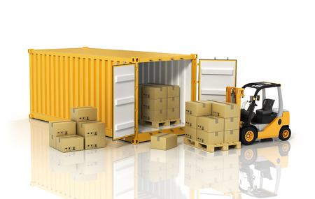 Open container with forklift stacker loader holding cardboard boxes. Transportation concept.