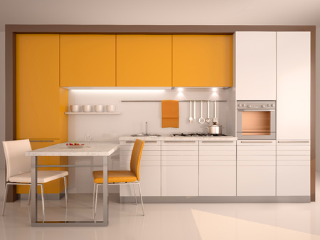 Photo pour modern kitchen interior 3d - image libre de droit