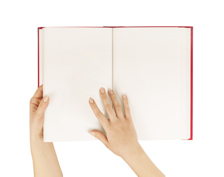 hands hold the red bookdiary empty spread isolated white.