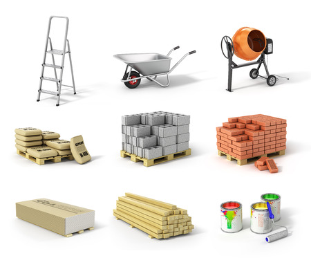 Set of construction material. Ladder wheel concrete mixer cement bricks gypsum beams and paint.