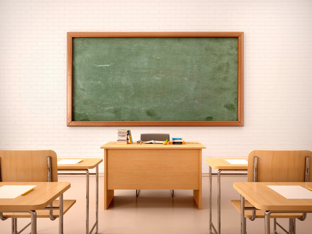 Photo for 3d illustration of bright empty classroom for lessons and training - Royalty Free Image