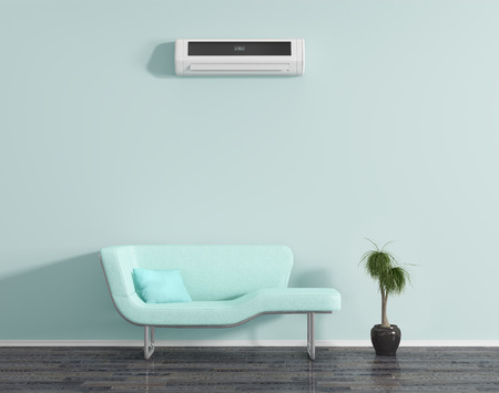 Photo for Blue room with air conditioning and sofa. - Royalty Free Image