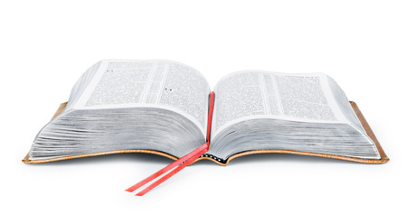 Photo pour A photo of an open Bible isolated on a white background. - image libre de droit