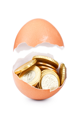 Photo for One cracked hen's egg and coins isolated on white - Royalty Free Image