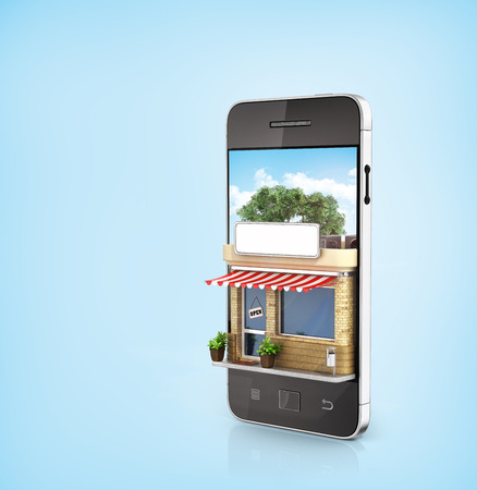 Concept of phone online store. Online store mobile flat design. Beautiful shop in the screen of phone.