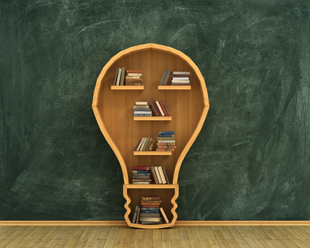 Concept of idea. Bookshelf full of books in form of bulb with concept drawing on whiteboard.