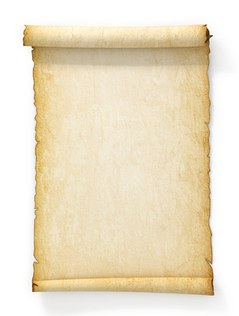 Photo pour Scroll of old yellowed paper on white background. - image libre de droit