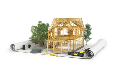 3d render of house in building process with trees, calculator and pencil on the blueprint.