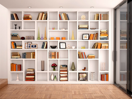 Foto de 3d illustration of White shelves in the interior with various objects - Imagen libre de derechos