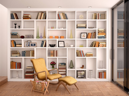 Foto de 3d illustration of white shelves for decoration and a library in the interior - Imagen libre de derechos