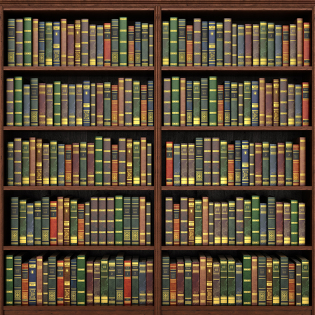 Foto de Bookshelf full of books background. Old library. - Imagen libre de derechos