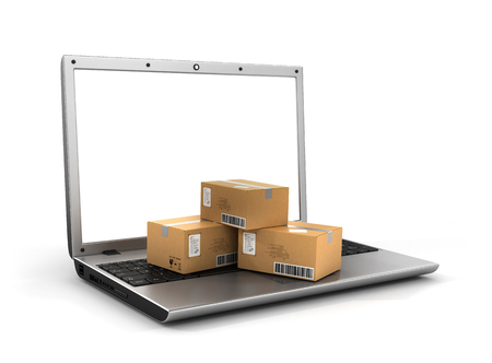 Photo pour Shipping, delivery and logistics technology business industrial concept. Heap of stacked corrugated cardboard package boxes on computer PC laptop. Delivery concept. - image libre de droit