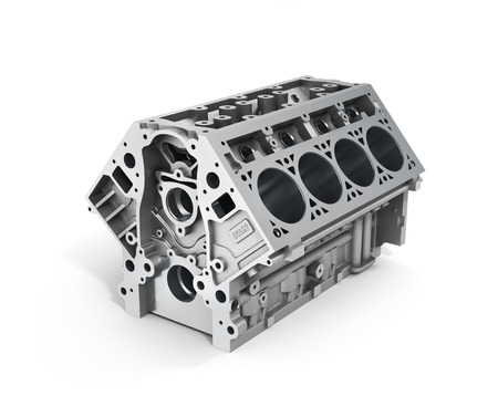 Foto de 3d render of cylinder block from strong car with V8 engine isolated on a white background. - Imagen libre de derechos