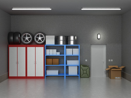 Photo for The interior suburban garage with wheels and boxes. - Royalty Free Image