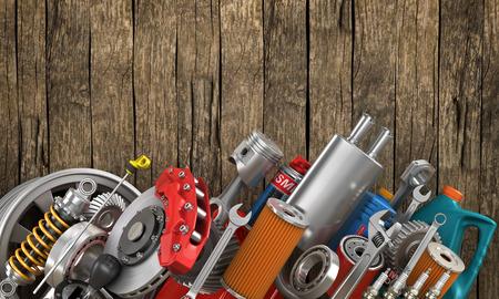 Photo pour Set of auto parts on the old wood background. - image libre de droit
