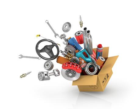 Photo pour Auto parts in the card box. Automotive basket shop. Auto parts store. Flying autoparts. - image libre de droit