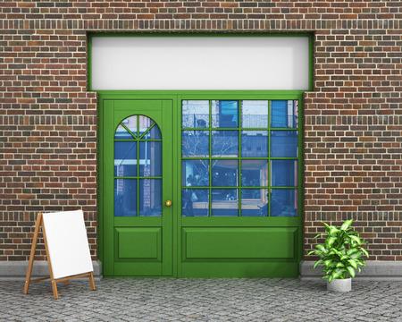 Foto de Shop Front. Exterior horizontal windows empty for store product presentation or design. - Imagen libre de derechos